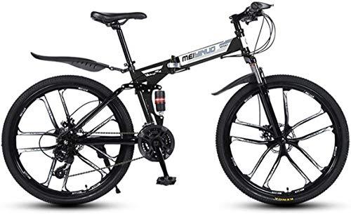 LAMTON Cambio MTB Radios 10 Plegable, suspensión de la Bici de 26 Pulgadas Bicicleta plegada Adultos Estudiantes de Velocidad del vehículo MTB 21/24/27, Negro, 21 velocidades