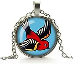 Bloody devil Swallow Tattoo Necklace, Retro Glass Cameo Pendant, Sailor Jerry Cabochon Tile Necklace, Rockabilly Jewellery, Alternative Jewelry, Handmade