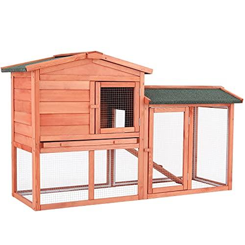 Casa de Conejo al Aire Libre, Conejo Jaula, Casa de Mascotas, Conejera de Exterior, Casa para Animales Pequeños al Aire Libre, Jaula de Animales, 150 x 54 x 89.5 cm