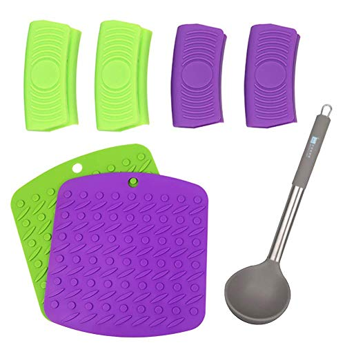 4 Pack Silicone Hot Pot Handle Holder Set Heat Resistant Cooking Pinch Grips Mini Oven Mitts with 1 Silicone Soup Ladle Spoon & 2 Trivet Mats for for Kitchen Cooking & Baking