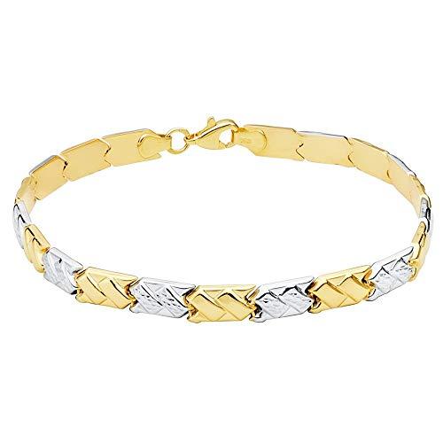 Bicolor Gold 18K Armband 19cm Imprinting RIB. Brillo Boxes Links Spange