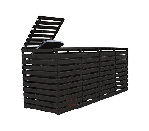 Mülltonnenbox Holz für vier 240 Liter Mülltonnen, Farbton Anthrazitgrau