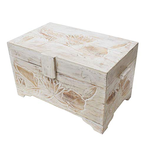 Oriental Galerie Truhe Holzkiste Holztruhe Schatztruhe Kiste Box Palmenholz Holzbox Blumen Schnitzereien Shabby Used Look Weiß 48cm