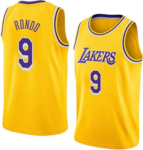 WSUN Maglia da Basket NBA Uomo - Maglietta Rajon Rondo NBA 9# Lakers Maglietta Sportiva da Basket Senza Maniche Traspirante per Il Tempo Libero,A,M(170~175CM/65~75KG)