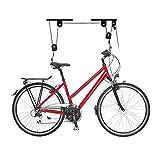 Relaxdays Portabici da Soffitto fino a 20 Kg, Appendi Bicicletta a Carrucola, Garage e Cantina, Ganci di Supporto, Nero