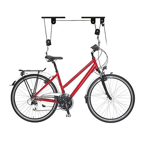 Relaxdays Portabici da Soffitto Fino a 20 kg, Appendi Bicicletta a Carrucola, Garage e Cantina, Ganci di Supporto, Nero Unisex Adulto, 1 Pezzo
