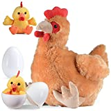 Plush Egg Laying Hen Chicken with Zippered Pouch and Two Plastic Eggs and Its Two Little Baby Chicks Inside Egg