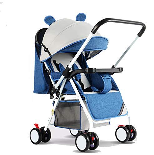 YLET Reisesystem 3 in 1 Kombikinderwagen Buggy Baby Kind Kinderwagen Rückwärts oder Vorwärts gerichteter Regenschutz Moskitonetz Flaschenhalter Faltbar,Blue-OneSize