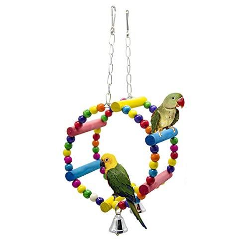 OMVOVSO Juguete Loro, Juguetes De Pájaro Coloridos Pájaros Parrot De Juguete Juguete De Columpio Hamaca De Madera Natural Colgando para Sesiones ARA LORTS,Multi Colored