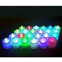 Takefuns 24個LEDティーライトキャンドル7色変更フレームレスティーライトキャンドルデコレーションウェディングパーティークリスマス