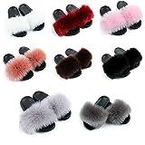 Dasongff Pantuflas de felpa para mujer, suaves, cálidas, planas, cómodas, de pelo sintético esponjoso, para interior y exterior