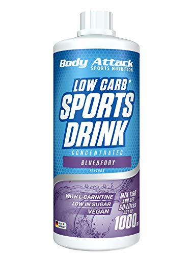 Body Attack Low Carb Sports Drink, Sportgetränkekonzentrat ergibt 50 Liter, zuckerfrei - und kalorienarm, vegan mit Carnitin & Vitaminen, Blueberry / Blauebeere, (1 x 1000ml)