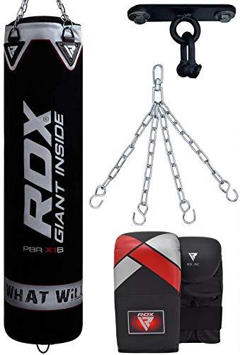RDX Boxsack-Set, ungefüllt, Muay Thai, Trainingshandschuhe mit Boxhandschuhen zum Aufhängen, Kette, Deckenhaken, ideal für MMA, Kampfsport, Kickboxen, 4 Stück, erhältlich in 122 cm, 152 cm