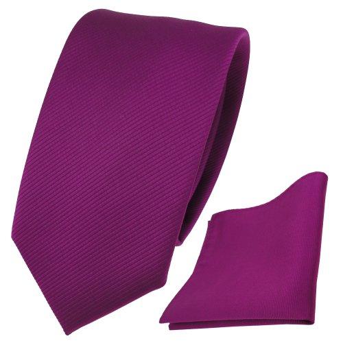 TigerTie Schmale Designer Krawatte + Einstecktuch magenta fuchsia violett Uni Rips - Binder Tuch