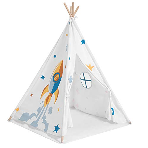 SONGMICS Kids Teepee, Portable Play Tent for Toddlers, with Ventilated Window, Floor Mat, Carry Bag, Private Space for Up to 3 Kids, 43.3 x 43.3 x 61 Inches, White ULTP120W01