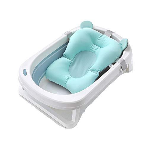 Tragbare Badewanne Baby schwimmen Tubs Kinder Griffige Sicher Folding Waschtrog, Erwachsene Tub Kleideraufbewahrung Korb mit Hänge Badmatte (Color : Blue)
