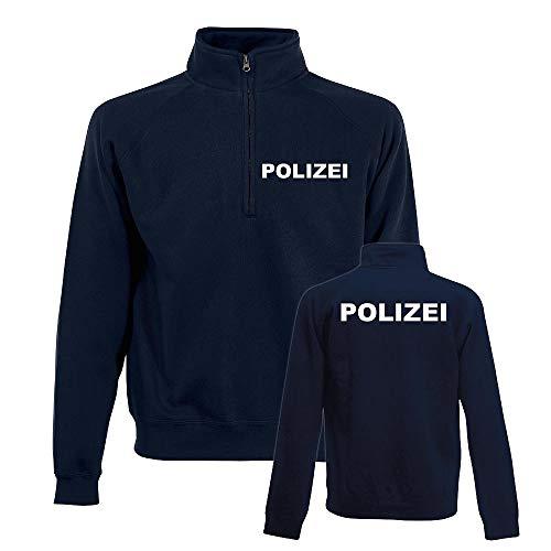POLIZEI ZIP NECK SWEAT-Shirt DUNKELBLAU/Navy-Blue - Brust & Rücken bedruckt, T-Shirt Größe:M
