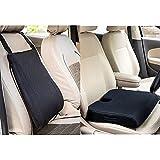 FOVERA Car Backrest Ergonomic Memory Foam Cushion for Comfortable Drive (Black) & Car Seat Cushion for Long & Comfortable Drive - Orthopedic U-Cut Out Wedge Cushion (L - Above 80kg Wt., Black Mesh)