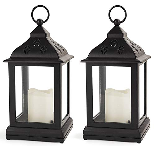 Bright Zeal /Pack of 2/ Vintage Candle Lantern with LED Flickering Flameless Candle (Black, 8hr Timer, Batteries Included) - Indoor Hanging Lantern LED - Decorative Lanterns Battery Powered
