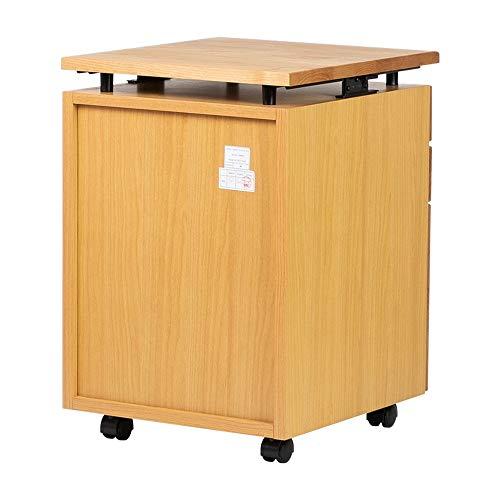 ISSEIKIワゴンWAGONキャビネット(幅幅41.5cm×奥行45cm)ナチュラル【天板昇降機能付】木製L-DESK2WAGON(NA)コンパクト書斎デスク横寝室にも