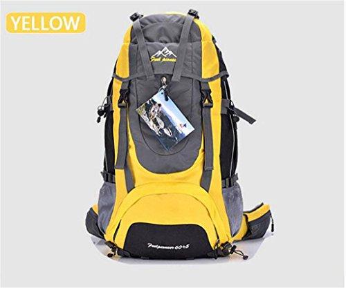 les hommes de sac à dos en plein air et les femmes sac à bandoulière sac à bandoulière grand sac à dos Voyage capacité forfait randonnée imperméable à l'eau de camping 65L ( Couleur : Le jaune , taille : 65L )