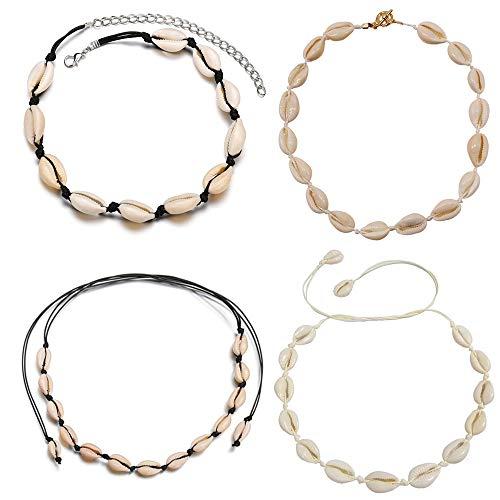 Mingjun, collana girocollo realizzata a mano, con conchiglie naturali, da spiaggia, collana a catena per donne e ragazze