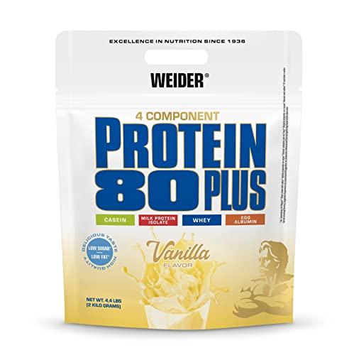 WEIDER Protein 80 Plus Multi-Component Protein Shake Powder, Vainilla Casein & Whey, Low Carb, 2kg