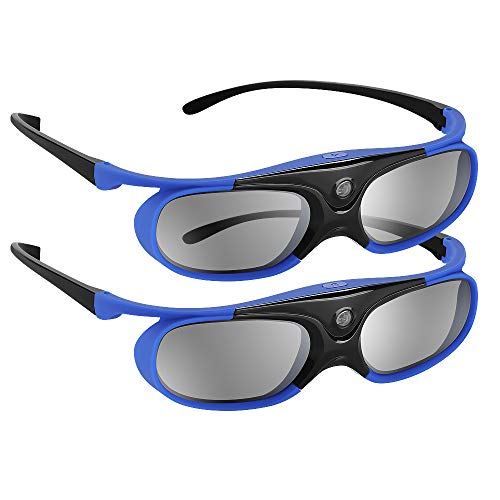 BOBLOV DLP Link 3D Glasses Active Shutter 144Hz Rechargeable for All DLP-Link 3D Projectors, Can't Used for TVs, Compatible with BenQ, Optoma, Dell, Acer, Viewsonic DLP Projector (Blue-2 Pcak)