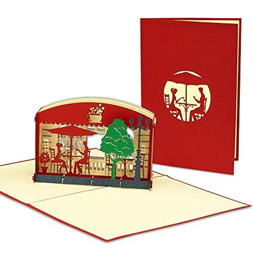 LIN POP UP Karte - 3D Gutschein-Karte - Geschenkgutschein für Restaurant Candle-Light Dinner - Essen Einladungen -Geburtstags-Karte - Klapp-Karte im Format