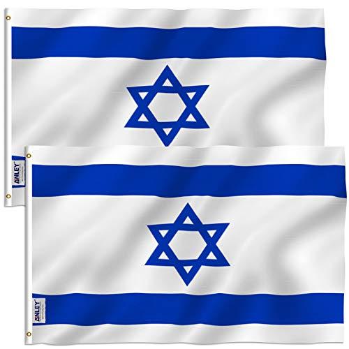 ANLEY Fly Breeze Bandeira de Israel de 3 x 5 pés - Cor vívida e resistente ao desbotamento por UV - Cabeçalho de lona e costura dupla - Bandeiras nacionais de Israel Poliéster com ilhós