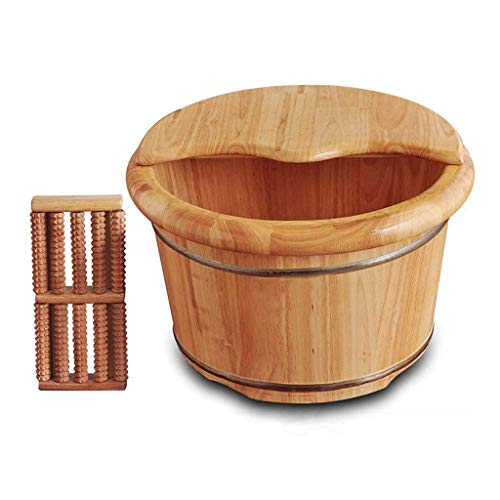 Madera pediluvio Barrel Foot Spa Benna del pie de lavado Barrel Pedicura Barrel Pediluvio con tapa, Sauna Accesorios, Pedicura, Detox, Masaje del pie Lavabo Foot Spa Bucket (Color: Beige)