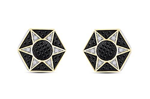 Pendientes de plata de ley chapada en oro de 18 quilates con forma de estrella hexagonal de diamante natural y blanco mejorados, Diamond,