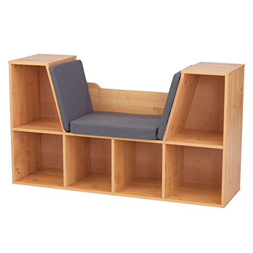 KidKraft Wooden Bookcase with Reading Nook, Storage & Gray Cushion - Natural