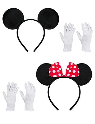 Balinco Doppelpack mit Maus Ohren / Maus Haarreifen mit roter Schleife & weißen Punkten + Maus Ohren in schwarz inklusive 2 Paar weiße Handschuhe für Kinder & Erwachsene
