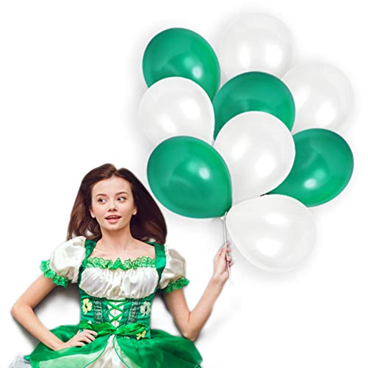 St Patrick's Day Emerald Green and White Balloons 12 Inch Shamrock Thick Latex Balloon Bulk Pack of 72 and 65 Yards Curling Ribbons Party Supplies Graduation Bridal Baby Shower Birthday Decorations