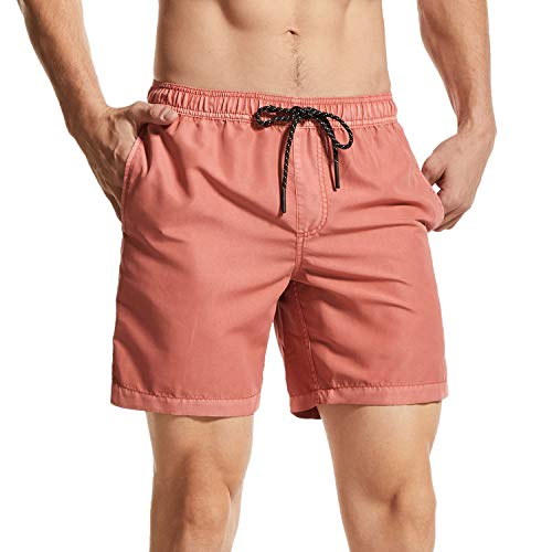 Homme Short de Bain à séchage Rapide Maillot de Surf Respirant Exercice Shorts EtanchePantalon Court de Sport avec Poches,Swim Trunks pour Sport Casual Beach Piscine,Orange Rose,XXL