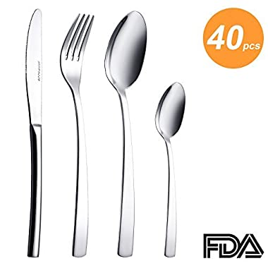 40 Pieces Silverware Set, Flatware Set Service for 10, Stainless Steel Cutlery for Kitchen Hotel Restaurant Wedding Party, Mirror Polished, Dishwasher Safe