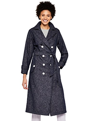Amazon-Marke: find. Damen Trenchcoat aus Denim, Blau (Navy), 40, Label: L