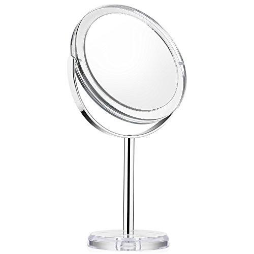 Beautifive Specchio Per Trucco Bifacciale Con Ingranditore 7x Da Bagno o Tavolo Specchio Cosmetico Da Makeup e Barba Da Viaggio Rotazione a 360 Gradi Specchietto Make Up Con Supporto Stile Retrò