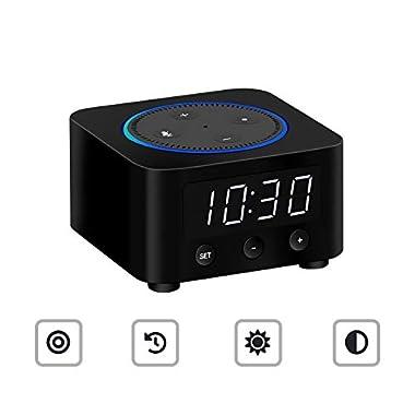 Desk Clock for Echo Dot 2nd Generation, Echo Dot Holder Stand Docking Station with LED Clock, Bedside Clock for Alexa Speaker, Saving Space on Nightstand or Tables (Black)