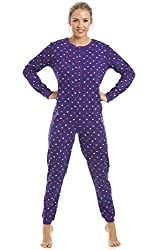 Womens 100% Cotton Multi-coloured Star Print Purple Onesie