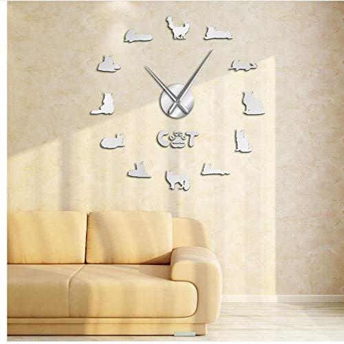 Horloge Murale Bricolage J'aime mon Chat Bleu Russe Effet Miroir Horloge Murale Drôle Cadeau Animal Grand Temps 3D Montre Horloge Fille Cadeau