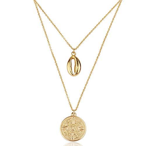 Good Designs ® Damen Kompass Halskette mit Kleiner Muschel (verstellbar) goldene Goldkette goldschmuck golden goldfarben kettegold halskettegold goldenehalskette