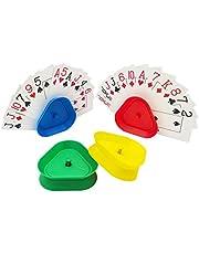 Riveryy 4 Pièces Porte Carte à Jouer Support de Cartes à Jouer en Plastique Support de Jeu de Cartes,Jeu de Cartes Mains Libres pour Enfants, Adultes,Seniors(Bleu,Rouge,Vert,Jaune)
