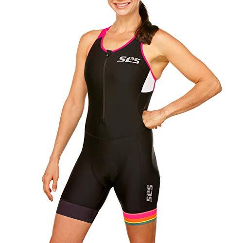 SLS3 Tuta da Triathlon da Donna Triathlon FRT | Tasca Posteriore | Cuciture antifrizione | Progettato Tedesco (Black/Bright Rose, S)