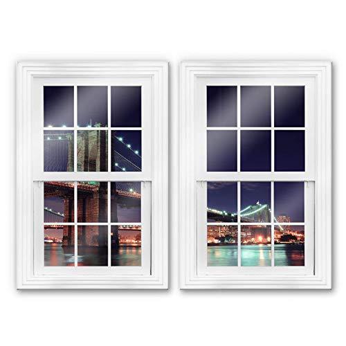 Wall-Art Manhattan Bridge NY New York Set de 2 fenêtres en verre avec pont de Manhattan et New York, Verre, multicolore, 70x100 cm