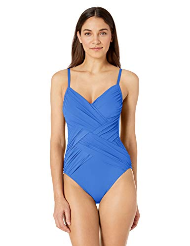 Gottex Damen Draped Panel V-Neck One Piece Swimsuit Einteiliger Badeanzug, Gitter Saphir, 40