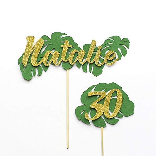 Birthday Tropical Leaf Cake Topper Personalised With Name and Age. Handmade Personalised Birthday Cake Topper In Green & Gold Glitter. Birthday Cake Decoration.