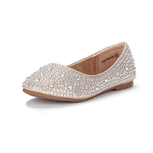DREAM PAIRS Little Kid Muy-Shine Gold Glitter Girl's Mary Jane Ballerina Flat Shoes - 2 M US Little Kid