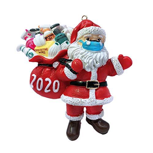 MaikcQ Christmas Ornaments 2020, Santa Claus Ornaments with Face Mask, Unique Luxury Christmas Tree Decorations, Winter Hanging Pendant Quarantine Keepsake for Xmas Home Decor(1pcs)